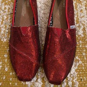 NWOT Red Glitter TOMS